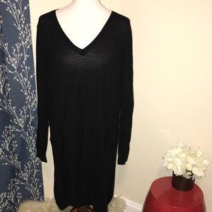 Eileen Fisher Merino Wool Black Tunic Sweater